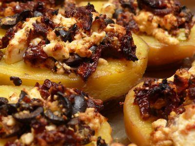 Gebackene Kartoffeln mit Tomaten-Olivenöl-Topping